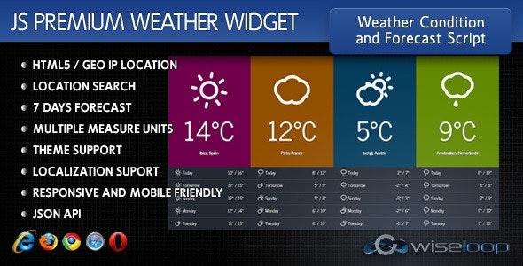 Javascript Premium Weather Widget by WiseLoop | CodeCanyon