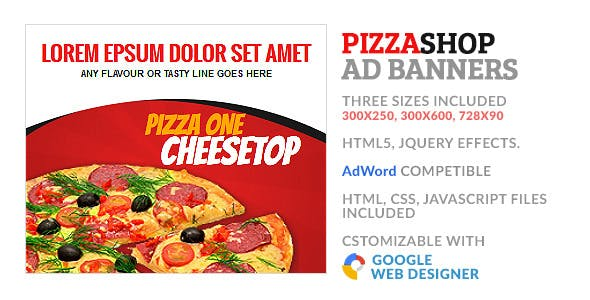 Pizza Fastfood Store GWD HTML5 Ad Banner