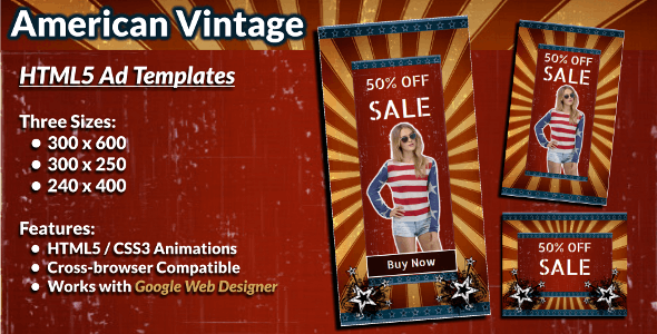 American Vintage HTML5 Banner Ad Templates - CodeCanyon Item for Sale