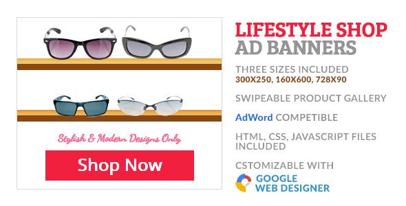 Sunglass Shop Product Gallery GWD Ad Banner