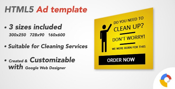 Ad HTML5 Template | Cleaning Service - CodeCanyon Item for Sale