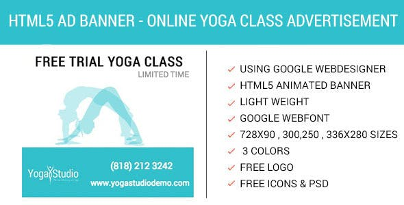 Book Online Yoga Class - HTML5 Animated AD