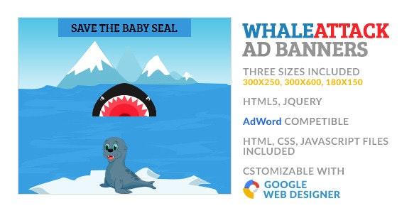 WhaleAttack Game GWD HTML5 Ad Banner - CodeCanyon Item for Sale