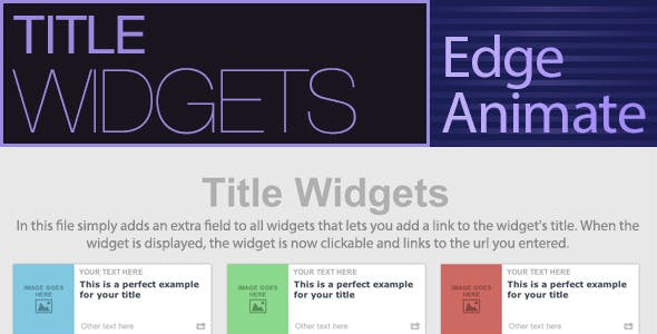 Title Widgets - Edge Animate