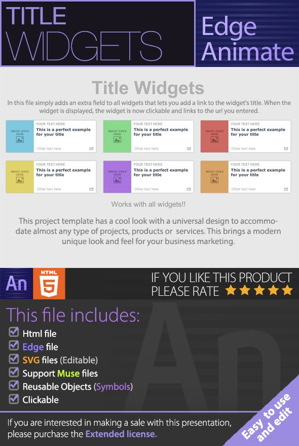 Title Widgets - Edge Animate - CodeCanyon Item for Sale