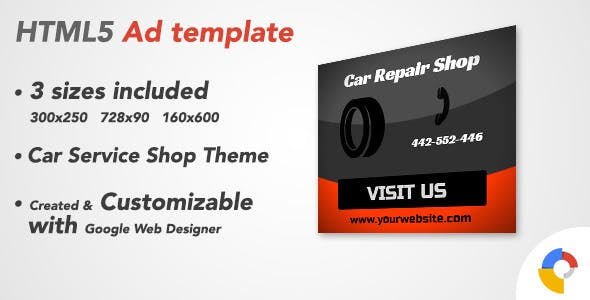 Ad HTML5 Template | Car Service Shop