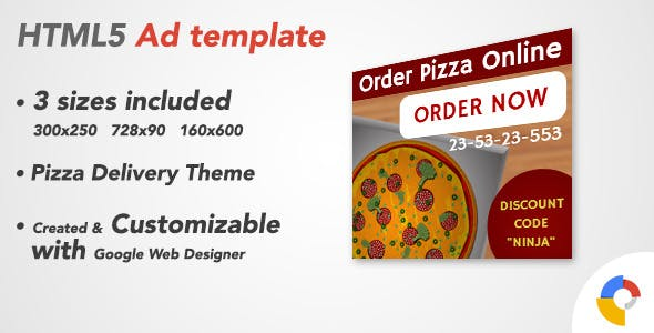 Ad HTML5 Template | Pizza Delivery Service