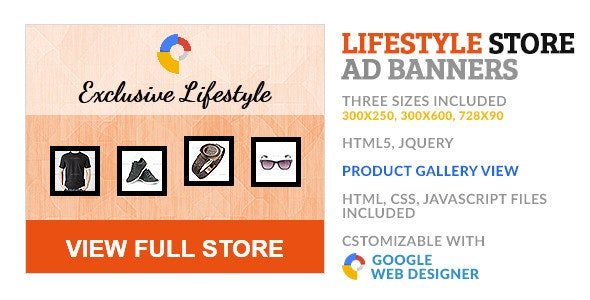 Lifestyle Product Store GWD HTML5 Ad Banner - CodeCanyon Item for Sale