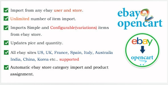 Ebay2OpenCart Listing Item Import - CodeCanyon Item for Sale