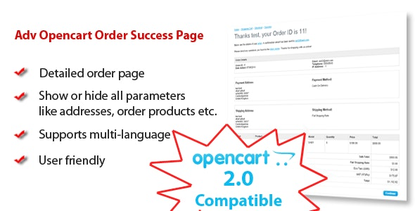 Adv Opencart Order Success Page - CodeCanyon Item for Sale