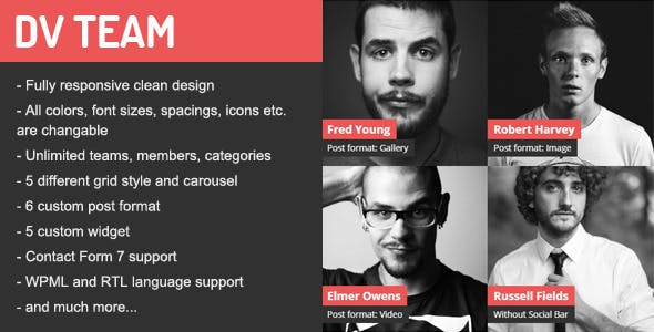DV Team Responsive Team Showcase Wordpress Plugin