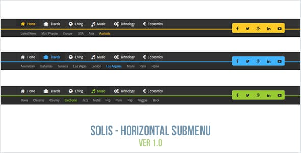 Solis - Horizontal Submenu