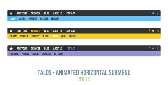 Talos - Animated Horizontal Submenu - CodeCanyon Item for Sale