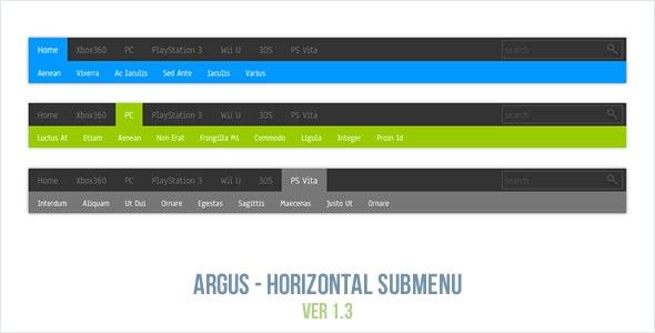 Argus - Horizontal Submenu - CodeCanyon Item for Sale