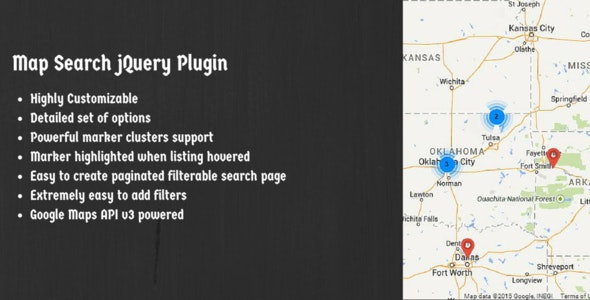 Map Search jQuery Plugin Using Google Maps API V3 - CodeCanyon Item for Sale