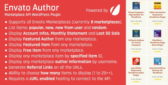 Envato Author - Marketplace API WordPress Plugin