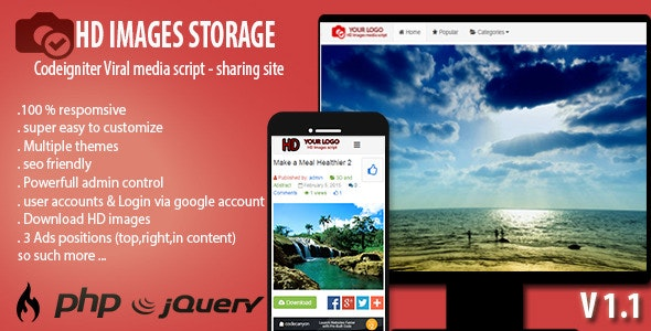 HD Images Storage - Viral Media Script - CodeCanyon Item for Sale