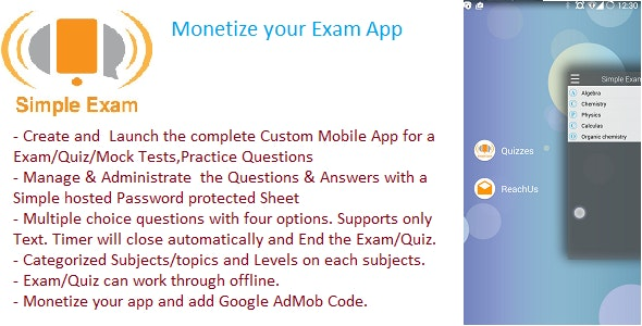 Simple Exam ,Quiz ,Practice Test,Skill Evaluation App - CodeCanyon Item for Sale