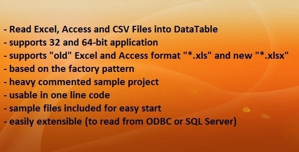 X to DataTable - convert Excel, Access, CSV - CodeCanyon Item for Sale