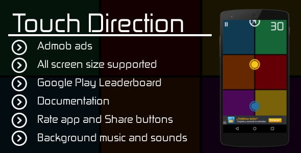 Touch Direction with Admob + Leaderboard + Share