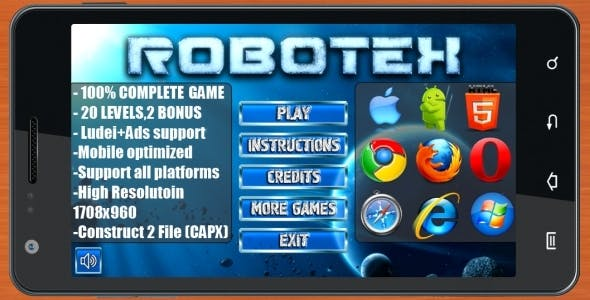 ROBOTEX: PUZZLE - 100% Complete Game! (Construct 3 | Construct 2 | Capx)