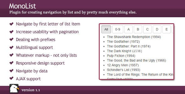 MonoList - List Grouping & Navigation