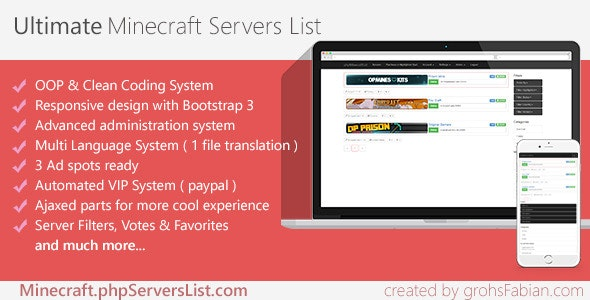 Premium Minecraft Servers List by AltumCode | CodeCanyon