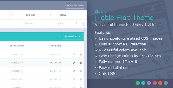 jTable Flat Theme