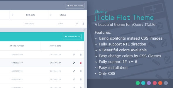 jTable Flat Theme - CodeCanyon Item for Sale