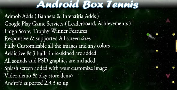 Box Tennis + Leaderboard + Admob + Social Share