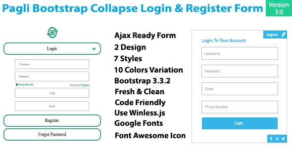 Pagli - Bootstrap Collapse Log in & Register Form - CodeCanyon Item for Sale