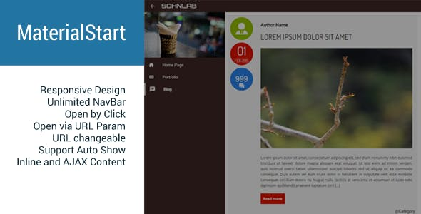 MaterialStart - Responsive Fullscreen Panel