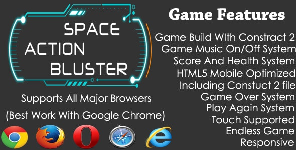 Space Action Bluster HTML5 Endless Shooting Game by