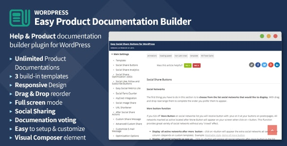 Easy Product Documentation Builder for WordPress - CodeCanyon Item for Sale
