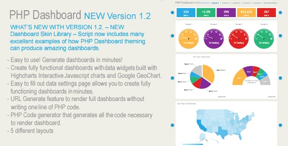 PHP Dashboards v1.2 (Dashboard script written in PHP - 100% source included)