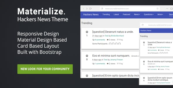 Materialize : Hackers News Theme - CodeCanyon Item for Sale