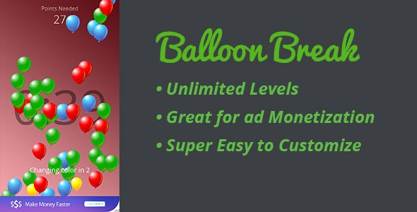 Balloon Break - Challenging Multilevel Tap Game - CodeCanyon Item for Sale