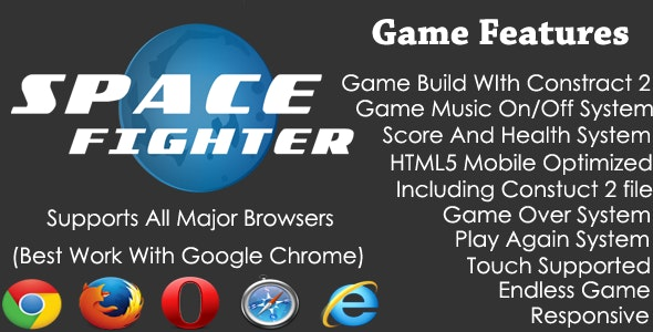 Space Warrior (Portrait Version) HTML5 Endless Shooting Game - CodeCanyon Item for Sale