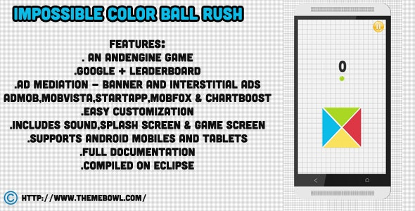 Impossible Ball Rush + Admob + Leaderboard + Mediation - CodeCanyon Item for Sale
