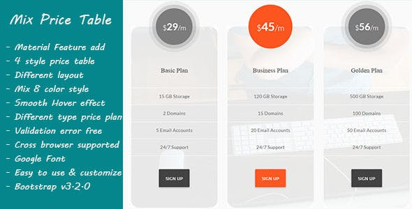 Mix Pricing Tables - Flat, Responsive and Bootstrap