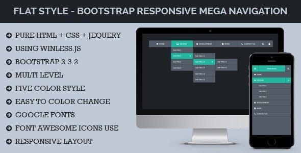 Flat Style - Bootstrap Responsive Mega Navigation