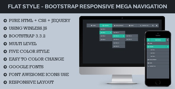 Flat Style - Bootstrap Responsive Mega Navigation - CodeCanyon Item for Sale
