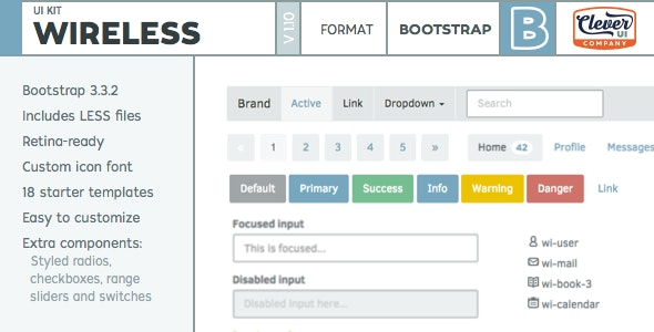 Wireless- Minimalist Bootstrap UI Kit - CodeCanyon Item for Sale