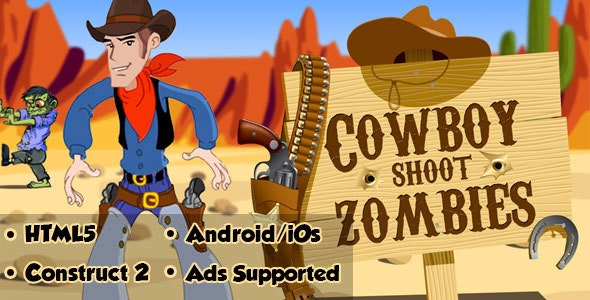 Cowboy Shoot Zombies - HTML5 Android (CAPX) - CodeCanyon Item for Sale