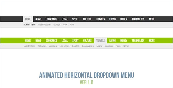 Animated Horizontal Dropdown Menu