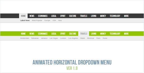 Animated Horizontal Dropdown Menu