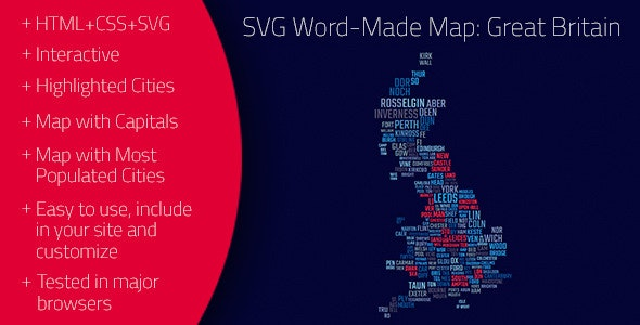 SVG Word-Made Map: Great Britain - CodeCanyon Item for Sale