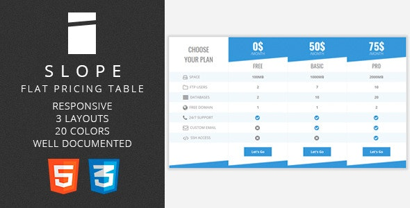 Slope - Flat Pricing Table - CodeCanyon Item for Sale