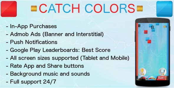 Catch Colors - Admob + Leaderboard + IAP + Share