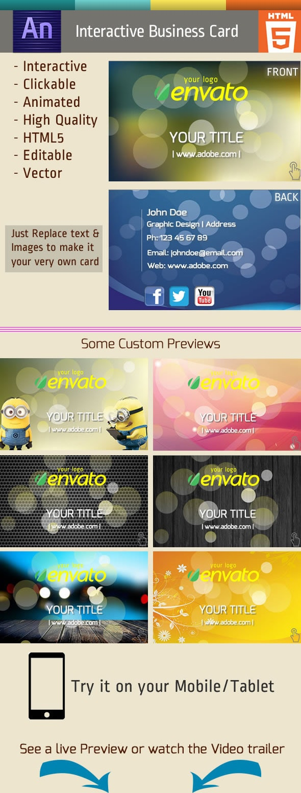 Animated Business Card - CodeCanyon Item for Sale